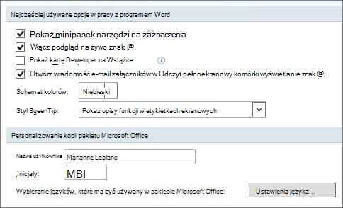 Popularne opcje programu Word 2007