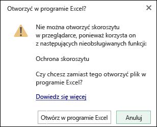 Okno dialogowe podczas otwierania skoroszytu chronionego hasłem w aplikacji Excel Online