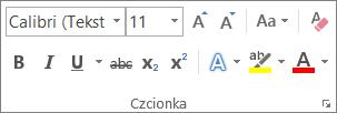 Opcje formatowania tekstu w grupie Czcionka