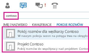 Zrzut ekranu: widok pokojów rozmów w oknie głównym programu Lync z wynikami wyszukiwania pokojów