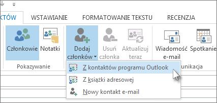 Dodawanie nowych członków z kontaktów programu Outlook
