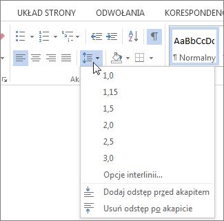 Zrzut ekranu przedstawiający kartę Narzędzia główne w programie Word, w wyświetlonym menu Interlinia i odstępy między akapitami.