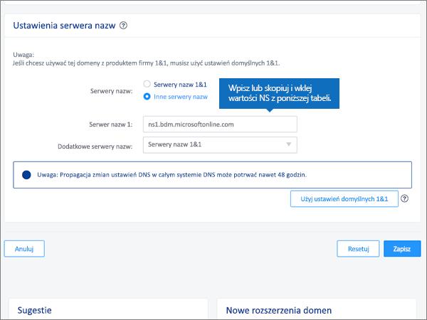 Wprowadzanie wartości w polu Name server 1 (Serwer nazw 1)