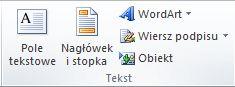 Grupa Tekst na karcie Wstawianie na wstążce programu Excel 2010