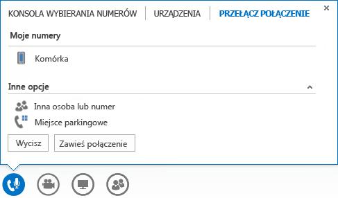 Zrzut ekranu: menu przełączania połączenia