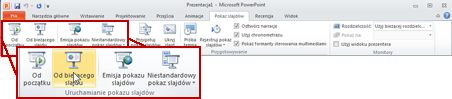 Grupa Uruchamianie pokazu slajdów na karcie Pokaz slajdów w programie PowerPoint 2010