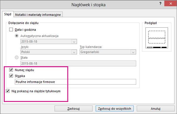 okno dialogowe wstawianie stopki w programie powerpoint