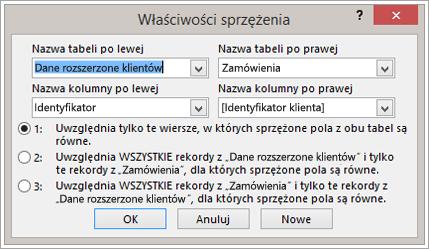 Zrzut ekranu przedstawiający okno Właściwości sprzężenia z wyróżnioną nazwą tabeli po lewej
