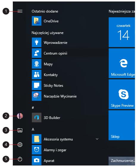 Objaśnienie ikon menu, Konta, Eksplorator plików, Ustawienia i Zasilanie.