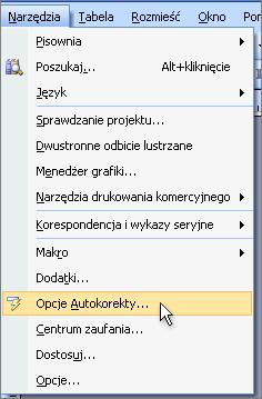 Uzyskiwanie dostępu do okna dialogowego Autokorekta