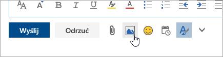 Zrzut ekranu przedstawiający przycisk Wstaw obrazy w tekście
