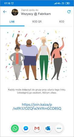 Zrzut ekranu przedstawiający stronę zapraszanie linku w programie aplikacji kaizala