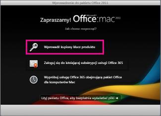 Ekran aktywacji pakietu Office dla komputerów Mac