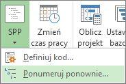 Obraz karty Projekt, przycisku SPP, polecenia Ponumeruj ponownie w menu rozwijanym.