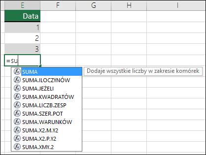 Autouzupełnianie formuł w programie Excel