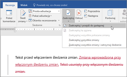 Śledzenie zmian w programie Word w usłudze Office 365