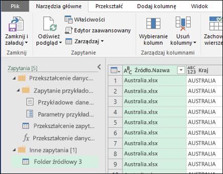Łączenie okno podglądu plików binarnych. Naciśnij klawisz Zamknij i załaduj aby zaakceptować wyniki, a następnie zaimportować je do programu Excel.