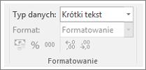 Wycinek ekranu przedstawiający pole Typ danych