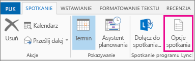 Przycisk Opcje spotkania w programie Outlook 2013