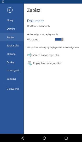 Zrzut ekranu przedstawiający opcję Autozapis na telefonie z systemem Android
