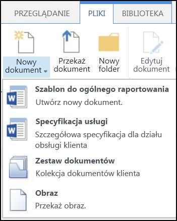 Menu Nowy dokument z dostosowanymi typami zawartości w programie SharePoint