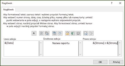 Okno dialogowe Ustawienia strony (nagłówek niestandardowy)