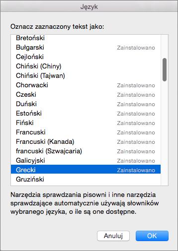 Narzędzia sprawdzające pakietu Office dla komputerów Mac