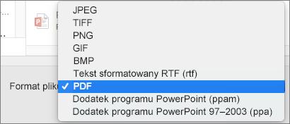 PowerPoint 2016 dla komputerów Mac, eksportowanie pliku PDF
