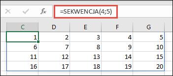 Przykład funkcji SEKWENCJA z tablicą 4 x 5