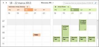 Zaimportowany Kalendarz Google w widoku obok siebie w programie Outlook