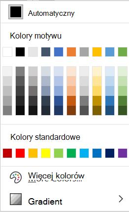 Menu Kolor czcionki w programie Word.