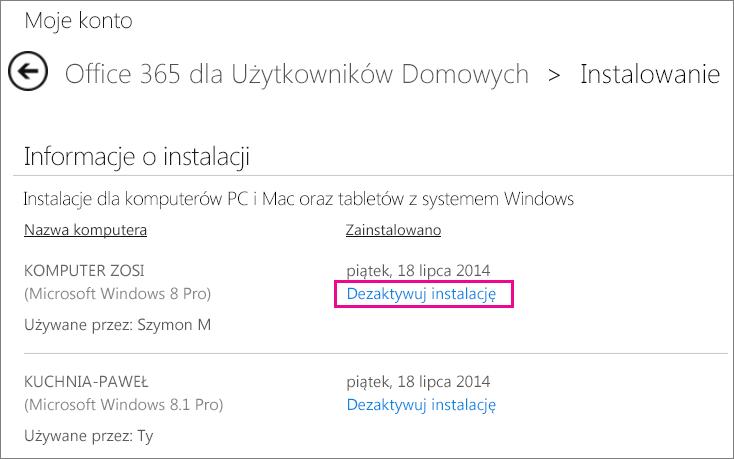 Strona instalowania z zaznaczonym linkiem Dezaktywuj instalację.