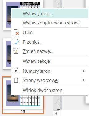 Aby wstawić stronę, kliknij prawym przyciskiem myszy stronę w okienku Nawigacja między stronami.