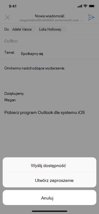 """Przedstawia ekran systemu iOS zwyszarzoną wersją roboczą wiadomości e-mail iprzyciskiem """"Wyślij dostępność"""" poniżej."""