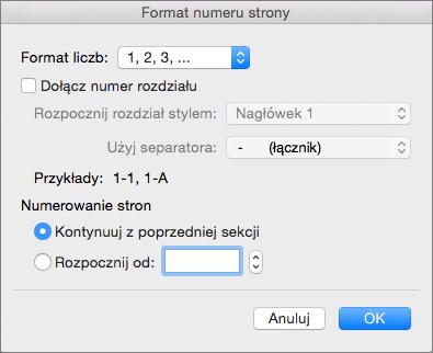 Wybieranie formatu numerów stron