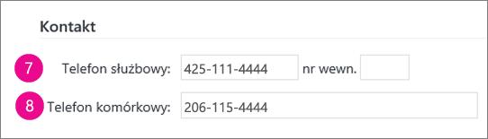 Zrzut ekranu przedstawiający pola numeru telefonu synchronizowane w usłudze Yammer