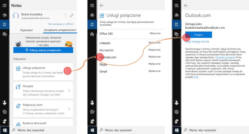 Zrzut ekranu z Cortany otwarte w systemie Windows 10 i w menu usługi połączone Otwórz.