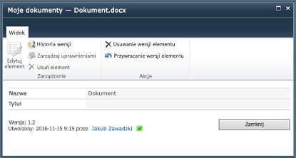 Okno dialogowe Historia wersji programu SharePoint 2010