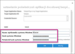 Zrzut ekranu przedstawiający okno dialogowe Pola poświadczeń używane podczas tworzenia aplikacji docelowej bezpiecznego magazynu. Pokazane są domyślne wartości, nazwa użytkownika systemu Windows i hasło systemu Windows.