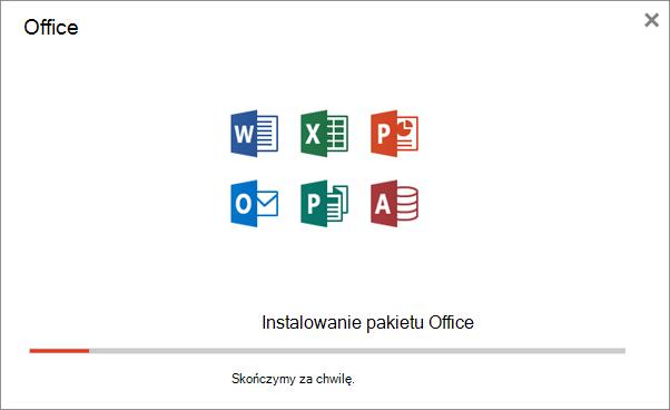 Wyświetla okno dialogowe postępu podczas instalacji pakietu Office
