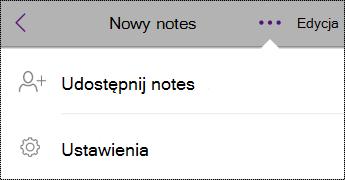 Przycisk ustawień w widoku notesów na telefonie iPhone.