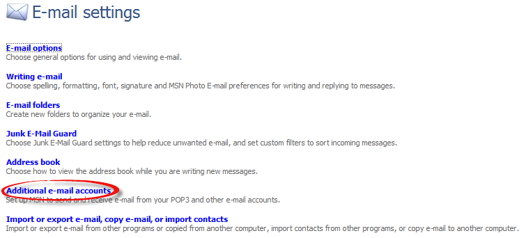 Wysłał ustawienia - opcji konta e-mail