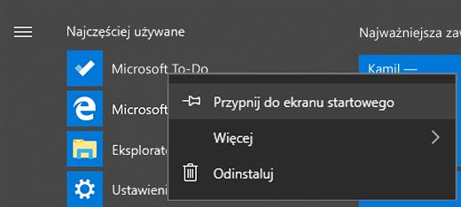 Zrzut ekranu przedstawiający opcję Przypnij do ekranu startowego zaznaczoną dla aplikacji Microsoft To-Do w Menu Start