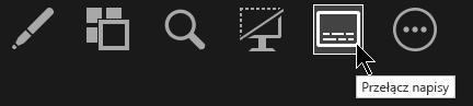 Przycisk przełączania napisów w widoku prezentera