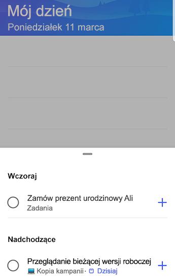 Zrzut ekranu przedstawiający zadanie do wykonania w systemie Android z sugestiami otwartymi i pogrupowanymi według wczoraj i nadChodzące.