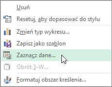 Kliknięcie pozycji Wybierz dane w menu wyświetlanym po kliknięciu wykresu prawym przyciskiem myszy