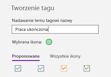 Tworzenie niestandardowego tagu w programie OneNote dla systemu Windows 10