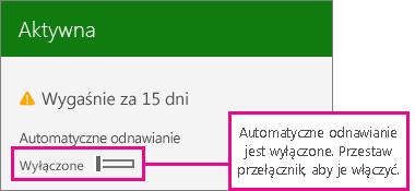Zrzut ekranu przedstawiający subskrypcję z przyciskiem przełączania automatycznego odnawiania