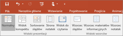 Menu Widok w programie PowerPoint
