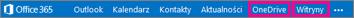 Nawigacja usługi Office 365 z pokazaną lokalizacją pozycji OneDrive dla Firm i Witryny